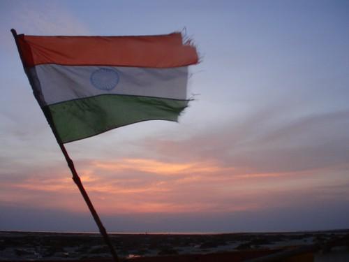 Indian flag on the beach