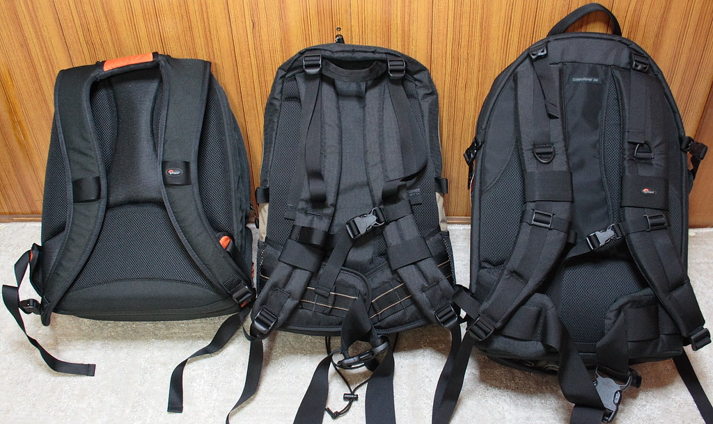 Three Lowepro's 2or3 compartment backpacks (Back)