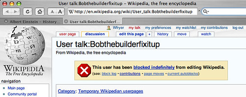 WikiPedia blocked user