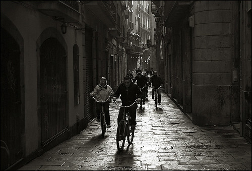 The bicycle lanes in Barcelona