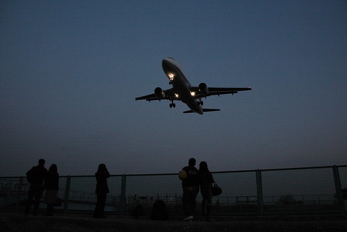 People look up at ANA's A320 in dusk