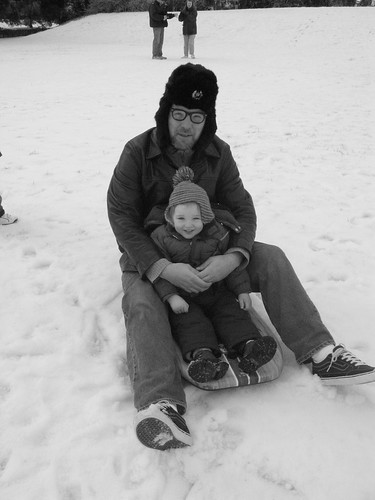 Miles and his father on snow