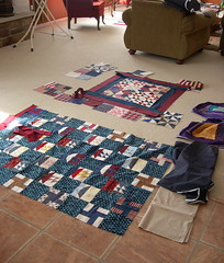 Auditioning fabrics and block placement