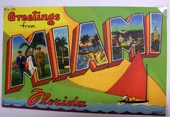 Greetings from Miami, Florida! (Shani's Stuff) Tags: vintage florida miami postcard large letter largeletter curteich