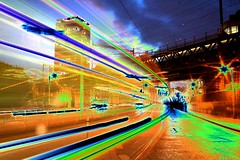 The World Through My Eyes (Dave G Kelly) Tags: street longexposure ireland dublin buses digital lens evening europa europe traffic 1855 solarization luas canoneos350d dublino irlanda irlande libertyhall dubln solarisation leurope davegkelly