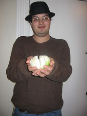Blake Stacey shows off his onion
