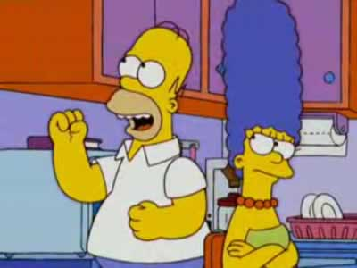 Los Simpsons: Homero y Marge pelean