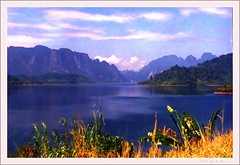 Peaceful Noon (Araleya) Tags: travel blue lake film beautiful analog thailand landscapes nikon colorful dam vivid peaceful reservoir agriculture development nikonfa naturesfinest araleya abigfave colorphotoaward wowiekazowie waterresource bhumiboldam