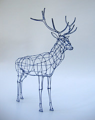 Wire Sculpture: Royal Stag in wireframe (polyscene) Tags: blue sculpture art 3d wire stag royal frame polly poly wireframe verity wiresculpture wireart polyscene pollyverity