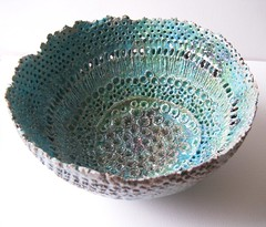 Neptune's Bowl (c-urchin) Tags: pierced sculpture art coral ceramic experimental turquoise glaze clay barnacles raku