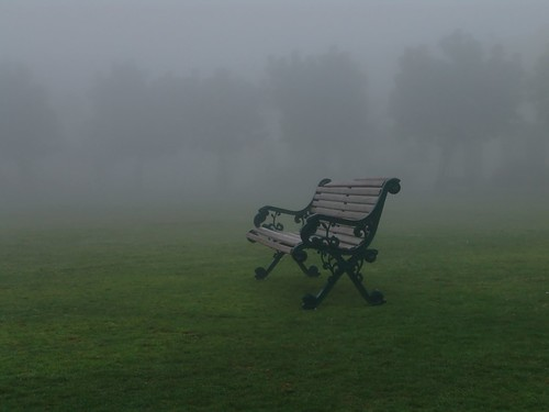 lone bench in fog