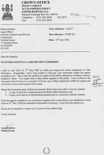 Letter from Crown to SCCRC dated 18th June 2002