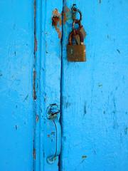 Blue-ishhh Door (mnadi) Tags: door wood old blue color colour macro colors closeup architecture handle nikon rust lock cyan lonely closeups  cefalonia nikonstunninggallery
