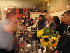 the party rages. Steve blurs (dogmilque) Tags: ritual coffee roaster opening party stumptown bluebottle ecco caffè espresso drunk