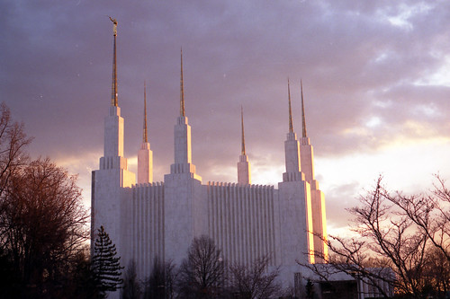 Washington DC Temple at sunset