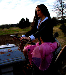 Crappy Shot: A pink skirt outtake (Special) Tags: pink woman tractor ford girl rural rust farm skirt rusted gothgirl plowing outtake pinkskirt