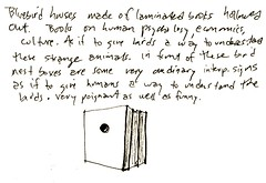 Birdhouse Idea for Interpretive Program (MaureenShaughnessy) Tags: eclectic sketches sketch sketchjournal journal birdhouse idea myjob myjobasalandscapedesigner drawing drawings sketchbook