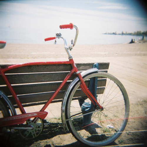 my red bike at the beach
