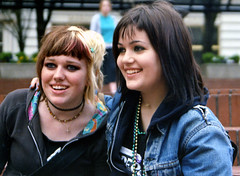 young punks (world_of_noise) Tags: youngpunks punk girls pdx portland pioneersquare pentaxmesuper