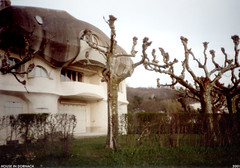 dornach house 1 (Dystopos) Tags: goetheanum steiner anthroposophy dornach switzerland house pollarded trees 2001 olympusxa