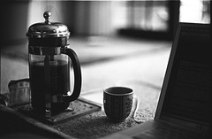 Morning Coffee (Jim O'Connell) Tags: pictures blackandwhite bw film japan darkroom tokyo nikon mine availablelight 1965 nikomat kagurazaka mmdc