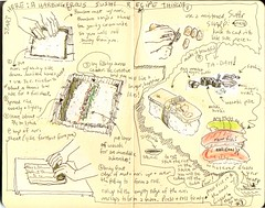 Sushi instructions (MaureenShaughnessy) Tags: family art moleskine topf25 sushi sketch gabe journal drawings eugene 2550fav thesis utata 50100fav topf topv harbingeroushappening 20topfaves2005 montanaraventop20 yellowmontanaset