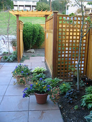 Entry Gate and Decorative Privacy Fence (MaureenShaughnessy) Tags: kelowna garden gardening decorativefence fence gate arbor patio pavers myjob myjobasalandscapedesigner sketchtoreality beforeduringandafter walkinginthegarden gardendesign landscape