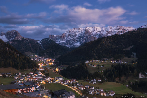 Italy. Dolomites. Autumn evening in the village of Selva di Val Gardena