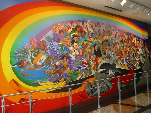 Leo Tanguma: The Children of the World Dream of Peace, Denver Airport by hanneorla.