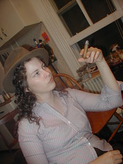 Mary looking disdainful (An Avatar Too Far) Tags: 2003 newspaper smoke mary stjohns cigar smoking sjc annapolis stjohnscollege august2003 annapolismaryland gadfly