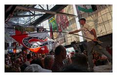 In the Legioenzaal  @ De Kuip (Feijenoord de Opera (3)) (AurelioZen) Tags: europe netherlands rotterdamzuid olympiaweg feijenoordstadion dekuiplegioenzaal feijenoorddeopera supporter audience flags banners legioenzaal functionalismbrinkmanvandervlught soccerculture voetbalcultuur