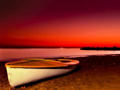 The old sun has gone (Michel Khoury) Tags: sea beach boat sand bestof dusk cyprus olympus limassol warmtones e500 zd 1454mm abigfave