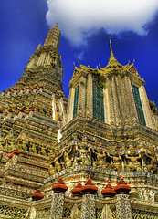 The Spires of Wat Arun (Stuck in Customs) Tags: old blue windows sky architecture clouds stairs thailand temple photography high nikon photographer sweet bangkok mosaic buddha buddhist details famous shapes drawings holy ornament talent antiques spicy ancestors watarun hdr sacr tremendous buddhists hights civilisations statuettes highquality stuckincustoms gigantesque treyratcliff