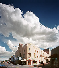 The Majestic Lensic (JMichaelSullivan) Tags: sky newmexico santafe 100v 2006 10f 4x5 portra 200v 3000v 500v lensic mjsfoto1956 1000v 400v 30f 20f 60f 2000