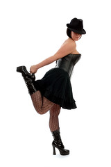 Me (Velocity Girl - Christina Brding) Tags: me stockings girl hat fetish boots vinyl skirt corset balance fedora