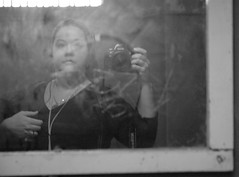 Reflection of Alcatraz (Saveena (AKA LHDugger)) Tags: sanfrancisco california ca camera travel vacation bw woman selfportrait me female myself island all no lisa any prison h rights alcatraz form written without usage reserved penitentiary allowed alcatrazprison consent dugger  saveena