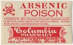 Arsenic (Dave Ward Photography) Tags: old toxic danger vintage label scan pharmacy poison poisonous deadly arsenic lethal phamaceutical