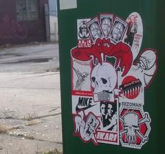 triple bloodbath (abandonview) Tags: streetart graffiti sticker stickers rwk mikeclark combo hazchem ikari uwp snub wwwmonoclothingcom streetstickers underwaterpirates abdn oneunit robotswillkillcom abandonview bezoman