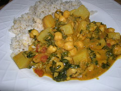 Chickpea, potato, and spinach curry