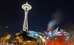 The Space Needle and EMP (A Sutanto) Tags: seattle city usa building architecture modern night lights washington landmark wa spaceneedle emp