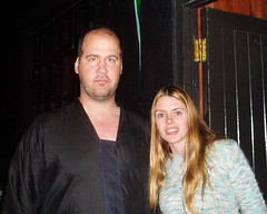 Nirvana Bassist Krist Novoselic and I. (RuthannOC) Tags: ruthann krist novoselic me nirvana bassist former kurt cobain seattle galway roisin dubh smiles happy smile night flash shot ireland west bass player tall music live performance perform vocals noise sound instrument high large big man woman female hair long blond blonde flipper