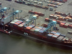 BL906 Container Ship (listentoreason) Tags: newyork water river geotagged ship technology unitedstates scenic places transportation aerialphotograph