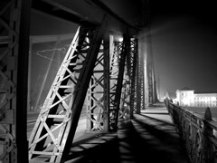 night fog (Gab) Tags: city bridge bw white black art architecture hungary searchthebest budapest 123 oneyear photooftheday libertybridge kriskros 123bw flickrsbest aplusphoto 22jan2007 globalvillage2