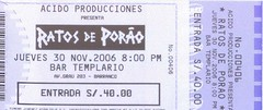Ratos de Porao concert ticket