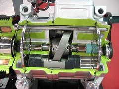 A Denso AC compressor cutaway