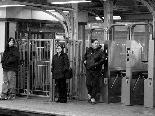Coming out of the turnstile B&W