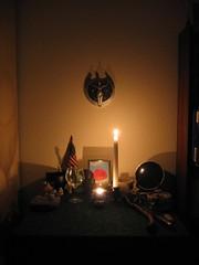 Obligatory candle-lit shot (Eelsalad) Tags: sculpture shrine wand flag altar statueofliberty cauldron athame feri starfinder blackmother stargoddess scryingmirror