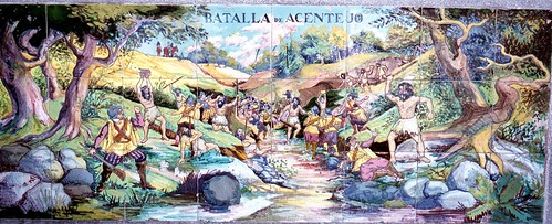 Tile mural in Municipal Park, Santa Cruz, Tenerife, Battle of Acentejo