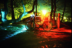 Bike At Night (edscoble) Tags: china camera black film bicycle night 35mm lomo lca xpro lomography xprocess long exposure shot crossprocess smoke tripod ct slide soviet plus 100 agfa russian kona automat strobe cablerelease c41 precisa kompakt