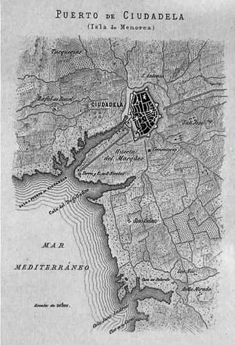 mapa del puerto de Ciudadela